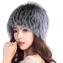 Valpeak Real Fox Fur Hat Winter Women Knitted Fur Hat Russian Warm Luxury Fashion Elastic Genuine Silver Fox Fur Skull & Beanie(China)