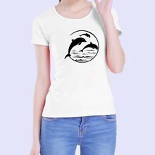 2017 Korean Fashion Summer Harajuku Dolphin T Shirt Women Short-Sleeve Carton Printed T-Shirt Small Fresh Girl's Clothing Female(China)