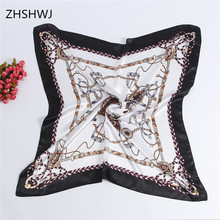[ZHSHWJ] chain scarf90 * 90CM women's scarf sunscreen shawl scarf satin scarf flowers HijabfoulardBandana beautiful scarf