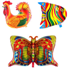 30pcs Africa fish cock butterfly Foil Balloons Colorful animals rooster balloon birthday party decorations ballons  child toys