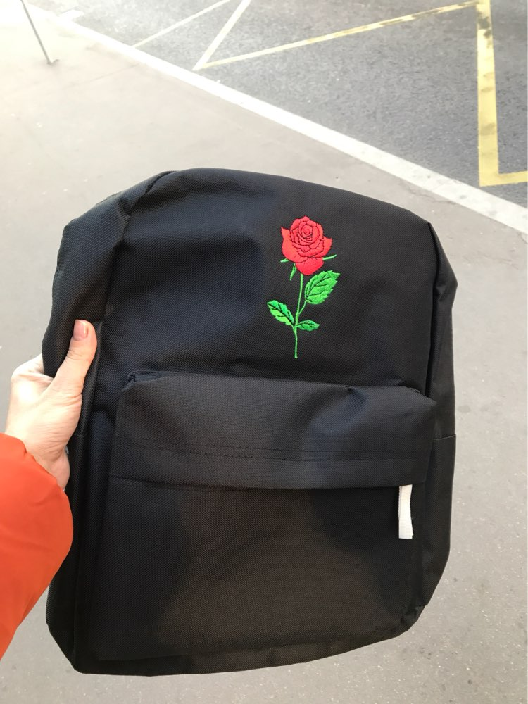 rose canvas backpack women bag men  (1)