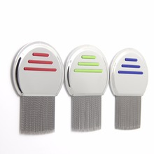 high quality Terminator Lice Comb Nit Free Kids Hair Rid Headlice stainless steel Metal Teeth remove nit brush(China)
