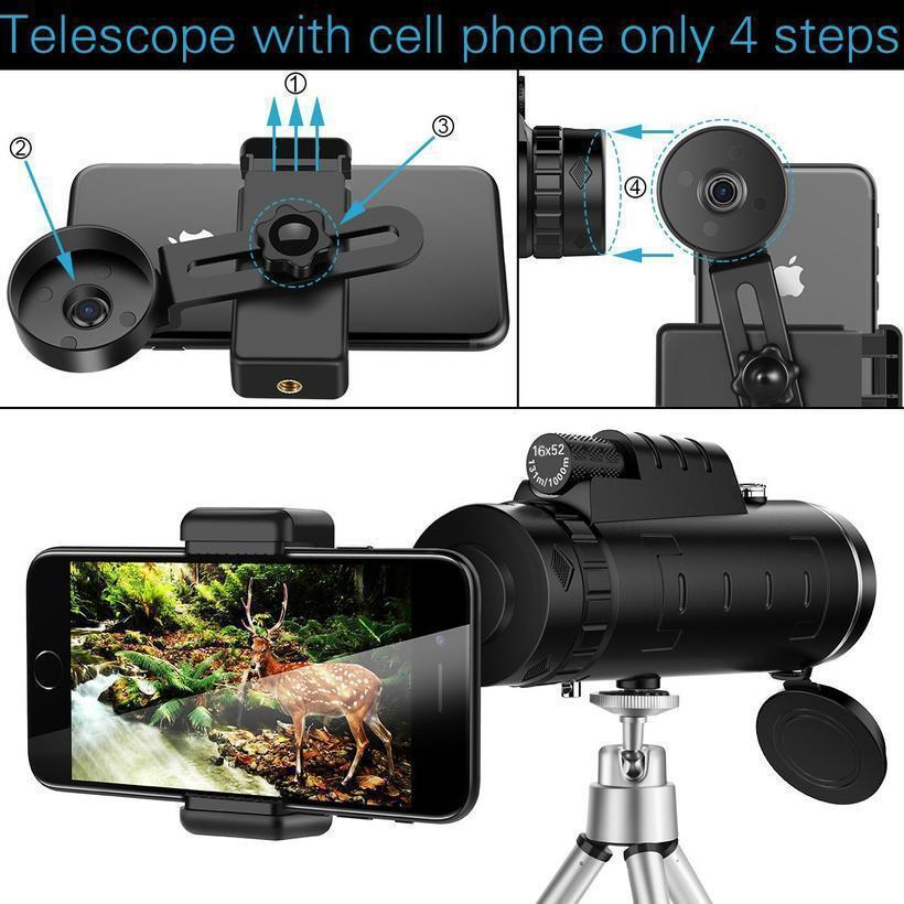 Lens for phone 40X60 Zoom for Smartphone Monocular Telescope Scope Camera Camping Hiking Fishing with Compass Phone Clip Tripod 5