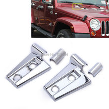 Chrome Trim Engine Hood Hinges Covers For Jeep Wrangler JK 07 08 09 10 11 12 13 14 2015  4 Doors [QPA213]