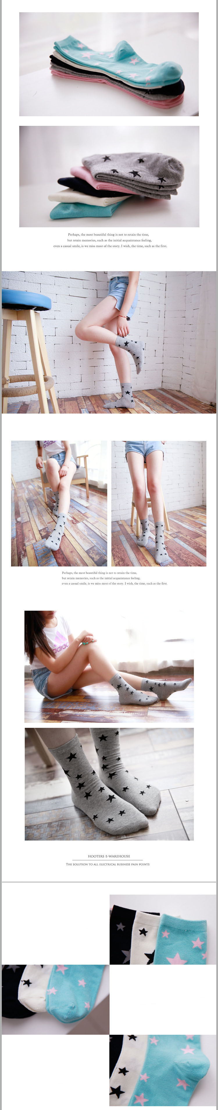 1Pair Classic Design Socks High Quality Cotton Women Socks Cute Stars Candy Color Warm Comfortable Feel Lovely Girl Wind 3