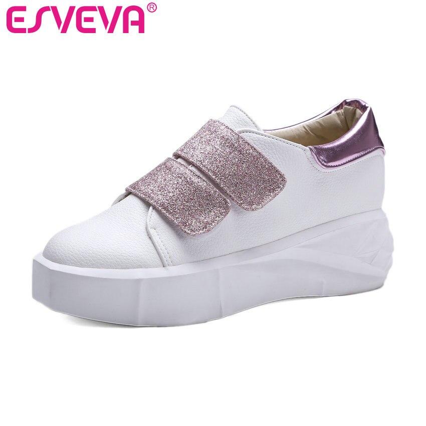 ESVEVA 2017 Round Toe Platform Woman Shoes Med Heel Women Pumps Increased Internal Fashion Hook&amp;Loop Spring Shoes Big Size 34-43<br>
