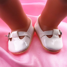 Lovely white small leather shoes fit 43 cm just born baby Zapf dolls, is the best gift to the children