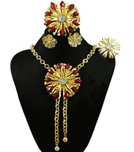 red stone nice fine jewelry sets african women necklace costume jewelry set african fashion design african beads jewelry set(China)