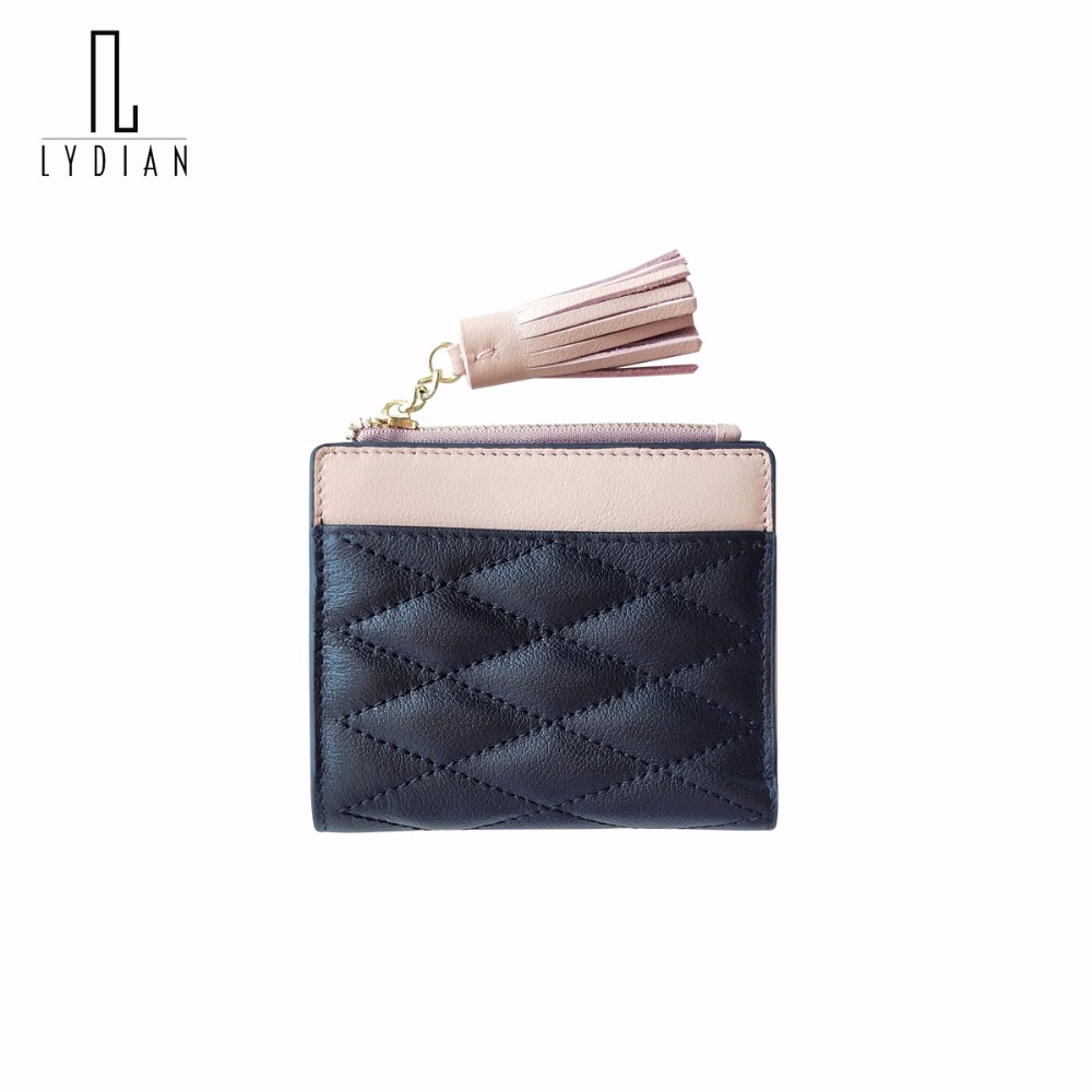 Lydian Tassel Sheepskin Short Wallet Women Small Zipper &amp;Buckle 2017 New Simple Mini Purse Lady Classical Coin Purse Portemonnee<br>