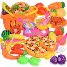 Shopping Basket 35PCS Children Cut Vegetables Fruit Toy Plastic Food Pizza Girls Cooking Set Kids Baby Pretend Play Kitchen Toys