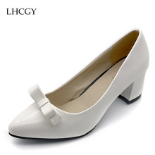 Plus size 34-41 Women's High heels slip on Shoes Lady Dress Shoes Woman Pointed Toe Bowtie Wedding Shoes White Pumps 2503