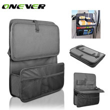 Onever Car Seat Back Bag Organizer Storage Bag Auto Seat Organizer with Foldable Food Tray Table Mesh Pockets Drinks Holder(China)