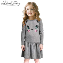 DAVYDAISY New Girls Dress Cat Print Long Sleeve Summer Baby Girl Kitty Dress Kids Vestidos 2-8 Ages WD-002