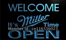 LA070- Welcome It's Miller Time Beer OPEN Neon Sign     home decor shop crafts