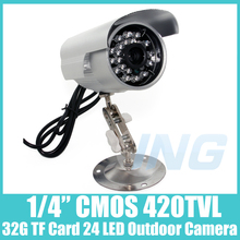 Hot Sale USB TF Card Record 24IR Outdoor Security Surveillance Camera Cam with 32GB TF CARD 1/4 CMOS 420TVL (Free Shipping)