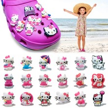 Novelty 1pcs Cartoon Hello Kitty PVC Shoe Charms,Shoe Buckles Accessories Fit Bands Bracelets Croc JIBZ,Kids Party Gifts(China)