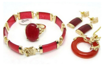 DYY+++902 Charming Red Dragon Pendant Necklace Ring Bracelet Earring Gift Sets(China)