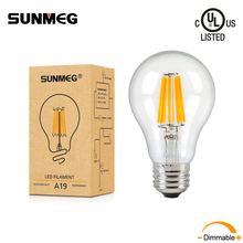 SUNMEG A60(A19) LED Energy Saving Light Bulbs E26 E27 4W 6W 8W Retro Edison Dimmable Filament Lamp 110V 220V for Home Decorative(China)