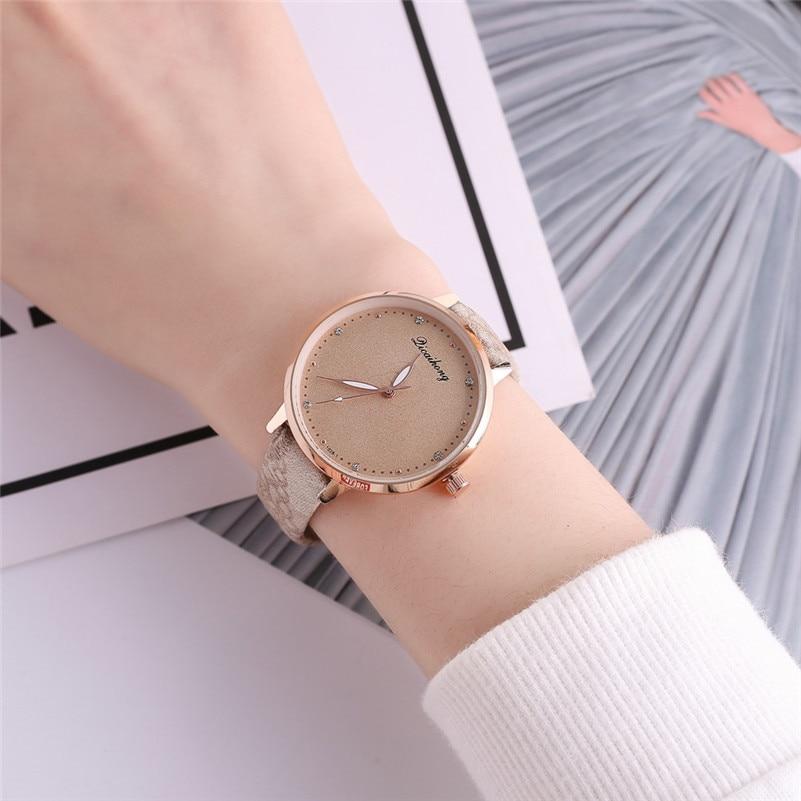 High Quality women fashion casual watch luxury dress ladies Leather Band Analog Quartz Round Wrist Watch clock bracelet M21 (21)