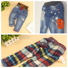 Wholesale 6pcs/lot Baby Autumn&Winter Denim Jeans Kids Fashion Thicker Jeans Boys Girls Warm Long Pants Kids Casual Trousers(China)