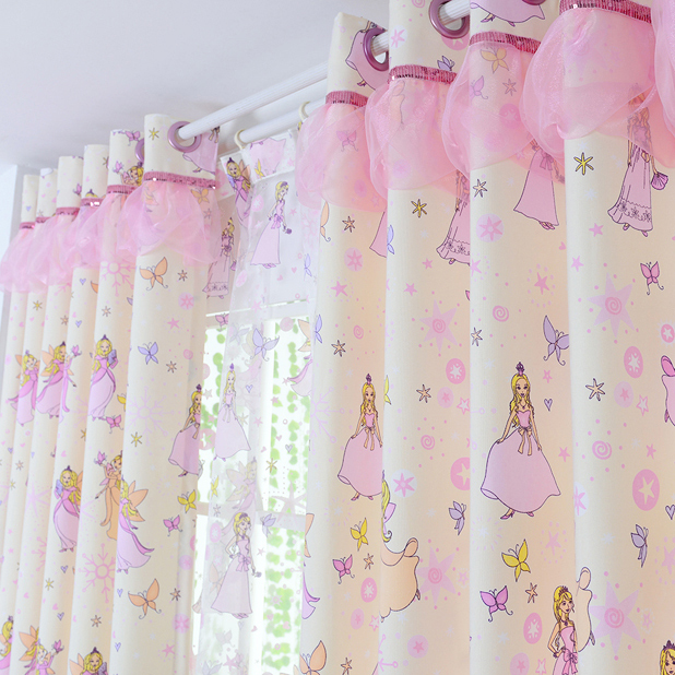 2017-new-Cotton-Material-Children-Princess-Room-Cartoon-tulle-Girl-Window-Curtains-For-living-Room-Bedroom