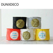 DUNXDECO 1PC Mini 20x15CM Fashion Colorful Fresh Words Print Home Office Storage Little Plant Pot Table Organize Decoration