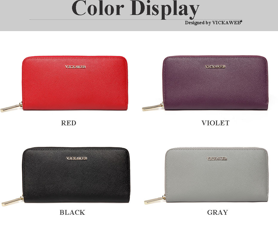 VICKAWEB Big Female Wallet Solid Women Wallets Genuine Leather Zipper Long Purses New Standard Wallets Fashion Ladies Purse 06-VICKAWEB06--003