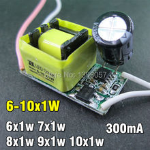 10pcs 6-10x1w Led Driver 300mA Power Supply For 6w 7w 8w 9w 10w Lamp Light Transformers(China)