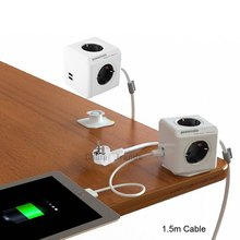 NEW Smart Home Allocacoc Extended PowerCube Socket EU DE Plug 4 Outlets +2 USB Ports Adapter with 1.5m Cable Power Strip(China)