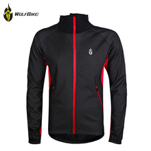 WOLFBIKE Men Fleece Thermal Winter Cycling Jacket Windproof Waterproof Bike Bicycle Wind Coat Long Sleeve Jersey Clothing(China)