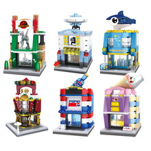 2017 HSANHE Mini Blocks Street store Plastic Block DIY Building Bricks Micro Street Shop Figures Kids toys Girls Gifts 6428-6433
