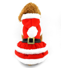2017 Small Dog Cat Clothes Christmas Dog Santa Dress Doggy Costume Hooded Dress Belt Decorated Winter Pet Apparel Red