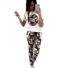YJSFG HOUSE Casual Women Flower Printed T-shirt And Long Pants Set Autumn Short Sleeve Tracksuit Ladies Two Piece Set Clothes