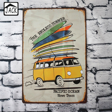 Summer Surfing Car 20x30cm Tin Plaque Gallery Tin Paintings Advertising Shop Bar Wall Decor Retro Tin Poster Metal Tin Signs(China)