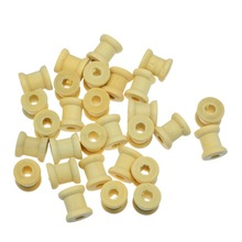 Hoomall 100PCs Natural Cylinder Wooden Bobbins Spools For Threads Needlework Tool 14mmx12.6mm(China)