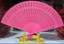 (300 pieces/lot) New wedding fans Chinese solid color sandalwood fans Fancy party favors 8 inches 7 colors available