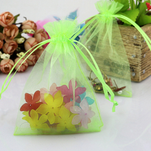 500PCS ORGANZA GIFT BAGS Wedding Decoration Party Favour Jewellery Packing 20x30cm Apple Green Drawstring Gift Bag(China)