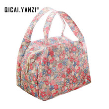 QICAI.YANZI 2017 New Lunch Bags Pouch Storage Box Flowers Insulated Thermal Cooler Bag Picnic Tote Bolsa Termica Lancheira N563(China)