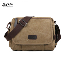 Men's Durable Vintage Canvas Messenger Bags Shoulder Bags handbags Leisure Work Travel Outing Business for 9.7 inch iPad(China)