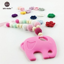 Let's Make 2pc Wooden Teether Baby BPA  Free Silicone Teether Woman Fashion Elephant Shaped chewable Crochet Beads Jewelry