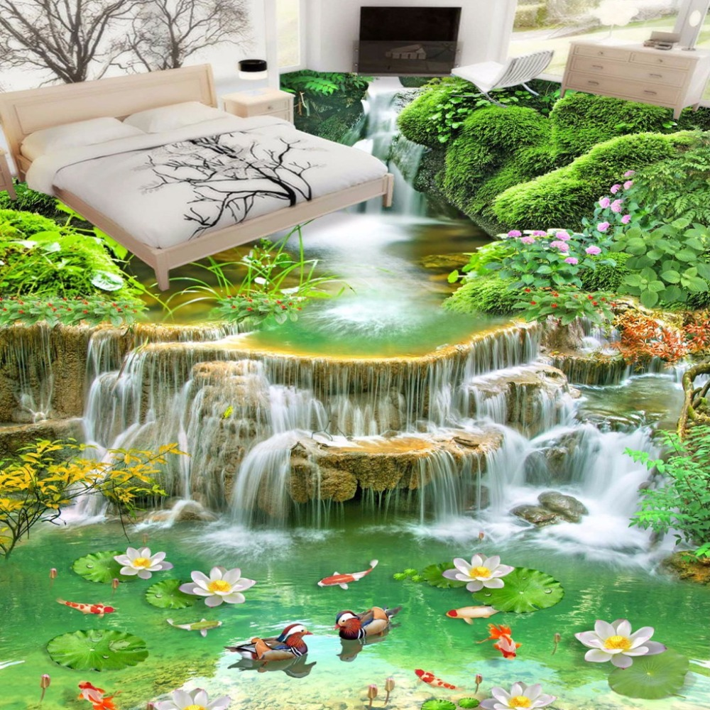 Custom 3D Floor Wallpaper HD Landscape Floor Stickers Waterproof Bathroom Living Room Bedroom Vinyl Flooring Murals Wallpaper<br><br>Aliexpress