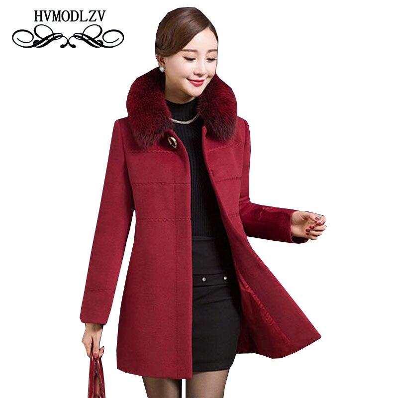 Plus Size In The Elderly Women Woolen Coat 2017 Winter Thicker Warm Wool Coat Leisure Hooded High Quality Woolen Jacket ls279Îäåæäà è àêñåññóàðû<br><br>