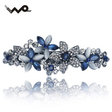 Flossy Opals Crystal Flower Rhinestone Hair Clip Barrette Hairpin Headwear Accessories Jewelry For Woman Girls Wedding F132