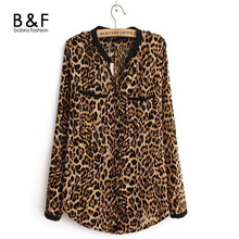 2016 New Fashion Women Leopard Chiffon Blouse Transparent Ladies Sexy Long Sleeve Top Casual Shirt Loose O Neck Office Blusas