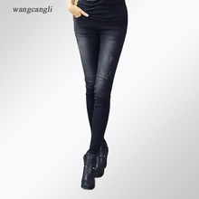 jeans woman Large size XL 5XL black skinny low-waist pencil pants girl stretch tear slim figure decoration zippers pockets jeans