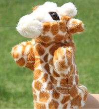 Story toy 1pc 26cm cartoon giraffe deer hand puppets plush sleeping pacify educational game early education baby infant gift