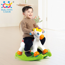 Rocking Pony Musical Educational Rocking Horse Ride On Rollers with Music/Light/Sliding Toy Children Learn ABC, Shapes & Numbers(China)