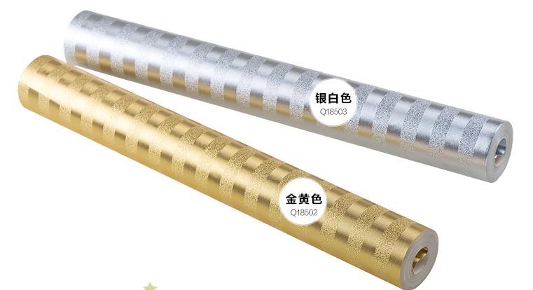 Modern Space Silver Golden Vertical Stripes Wallpaper Roll Metallic 3D<br>