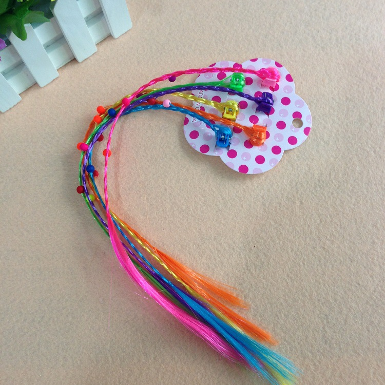 6pcs/set Cartoon Cute Good Quality My small Baoli Hair Clip With Long Colorful Wig Dolls Decorations Toys For Children(China)