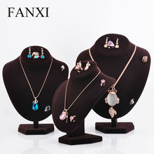 FANXI DHL Express Multifunctional Necklace Bust Display Stand Hook Design Ring Earrings Mannequin Jewelry Stand Exhibitor(China)